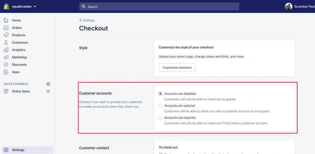 Shopify Checkout Customer Account